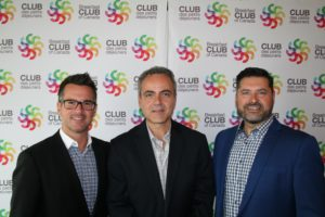 (from left) Patrick Renaud, Quebec regional sales manager, Mitsubishi Motors joins Mitsubishi manager of public relations, John Arnone, and Boucherville Mitsubishi dealer principal Dany Lemelin.